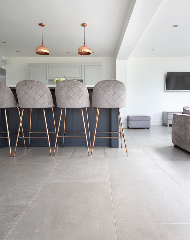 Dove Grey Stone Effect Porcelain Flooring