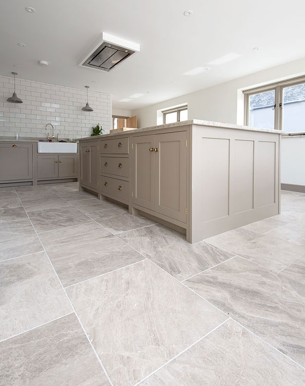 Silver Cloud Sandblasted & Brushed Limestone Tiles
