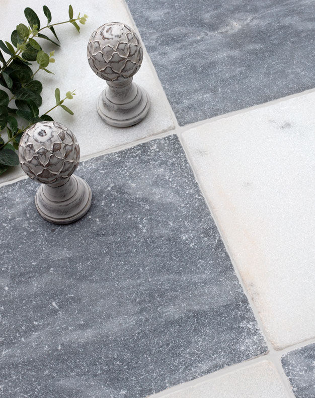 Parisian Chequerboard Tumbled Marble Tiles
